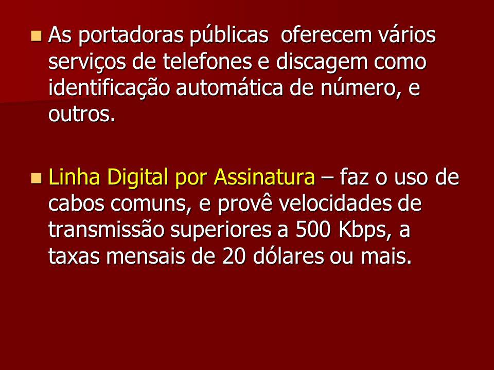 As portadoras públicas oferecem vários serviços de telefones e discagem como identificação automática de número, e outros.