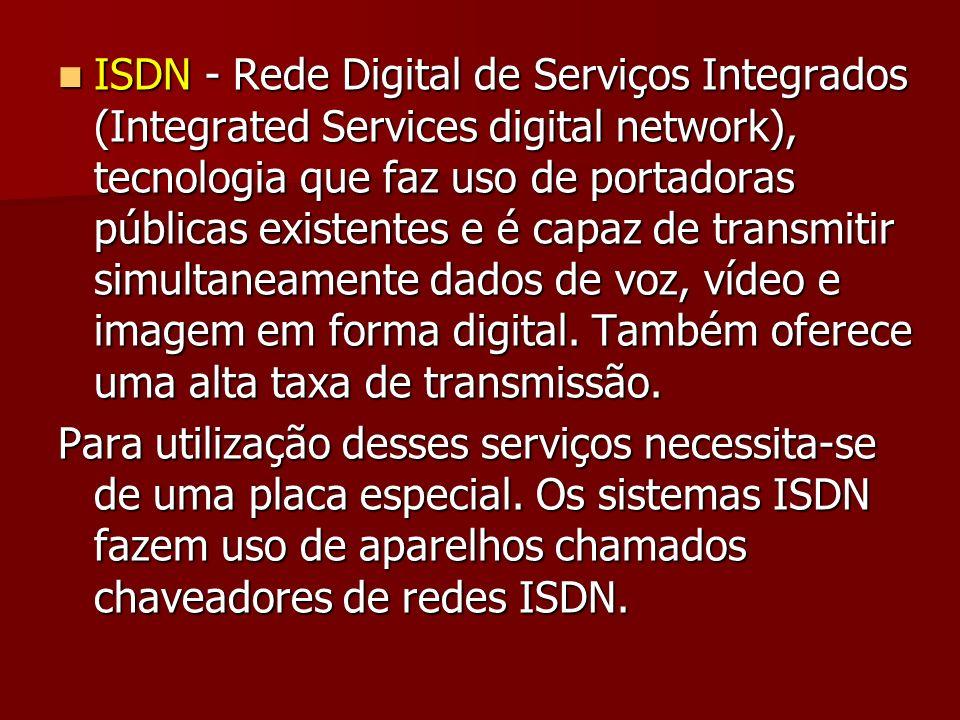 ISDN - Rede Digital de Serviços Integrados (Integrated Services digital network), tecnologia que faz uso de portadoras públicas existentes e é capaz de transmitir simultaneamente dados de voz, vídeo e imagem em forma digital. Também oferece uma alta taxa de transmissão.