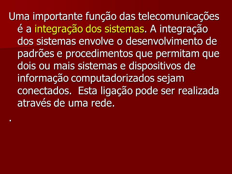 Uma importante função das telecomunicações é a integração dos sistemas
