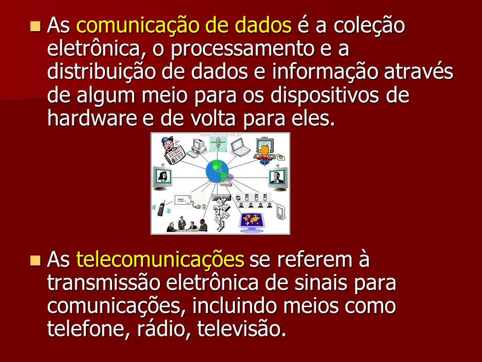 As comunicação de dados é a coleção eletrônica, o processamento e a distribuição de dados e informação através de algum meio para os dispositivos de hardware e de volta para eles.