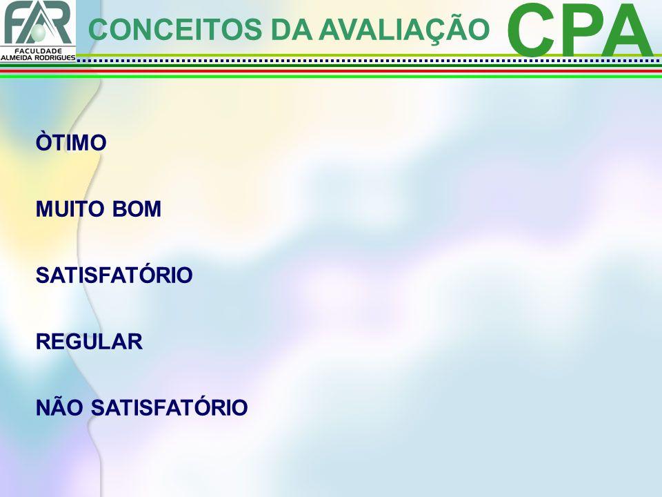 CPA CONCEITOS DA AVALIAÇÃO ÒTIMO MUITO BOM SATISFATÓRIO REGULAR