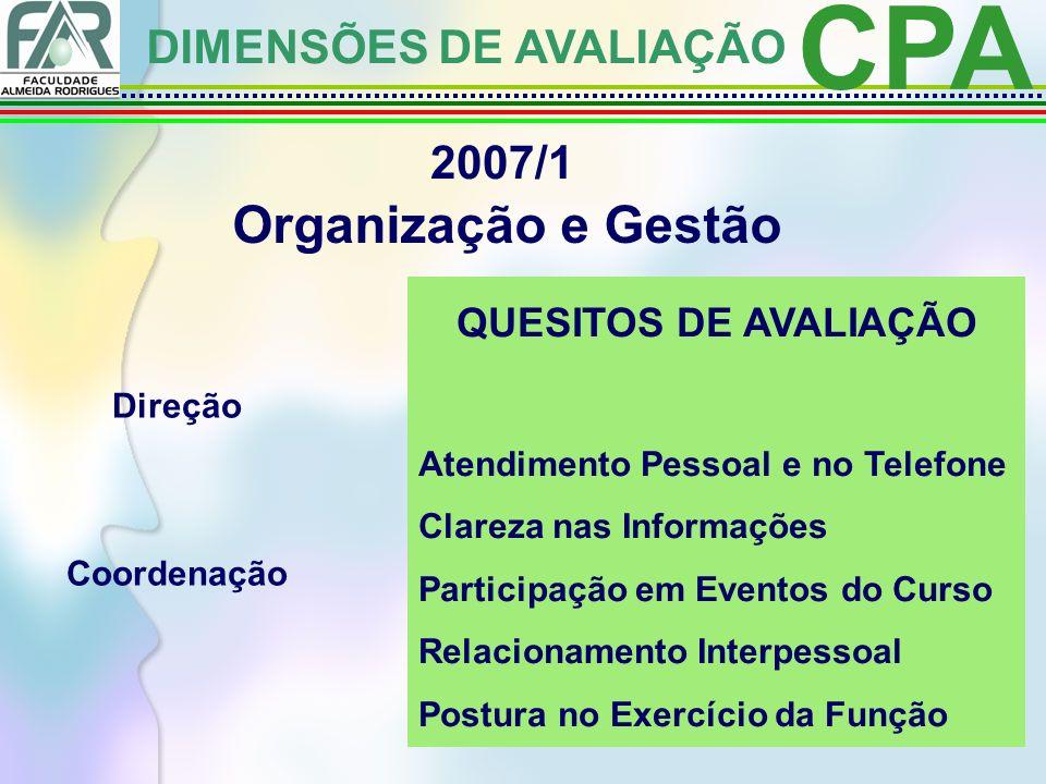 CPA Organização e Gestão DIMENSÕES DE AVALIAÇÃO 2007/1