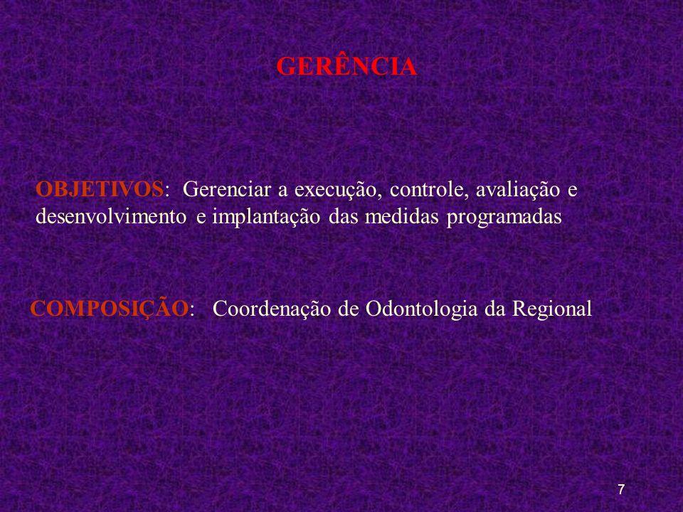 GERÊNCIA OBJETIVOS: Gerenciar a execução, controle, avaliação e desenvolvimento e implantação das medidas programadas.