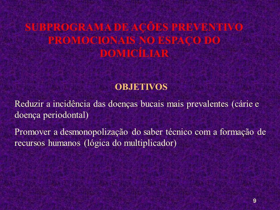 SUBPROGRAMA DE AÇÕES PREVENTIVO PROMOCIONAIS NO ESPAÇO DO DOMICÍLIAR