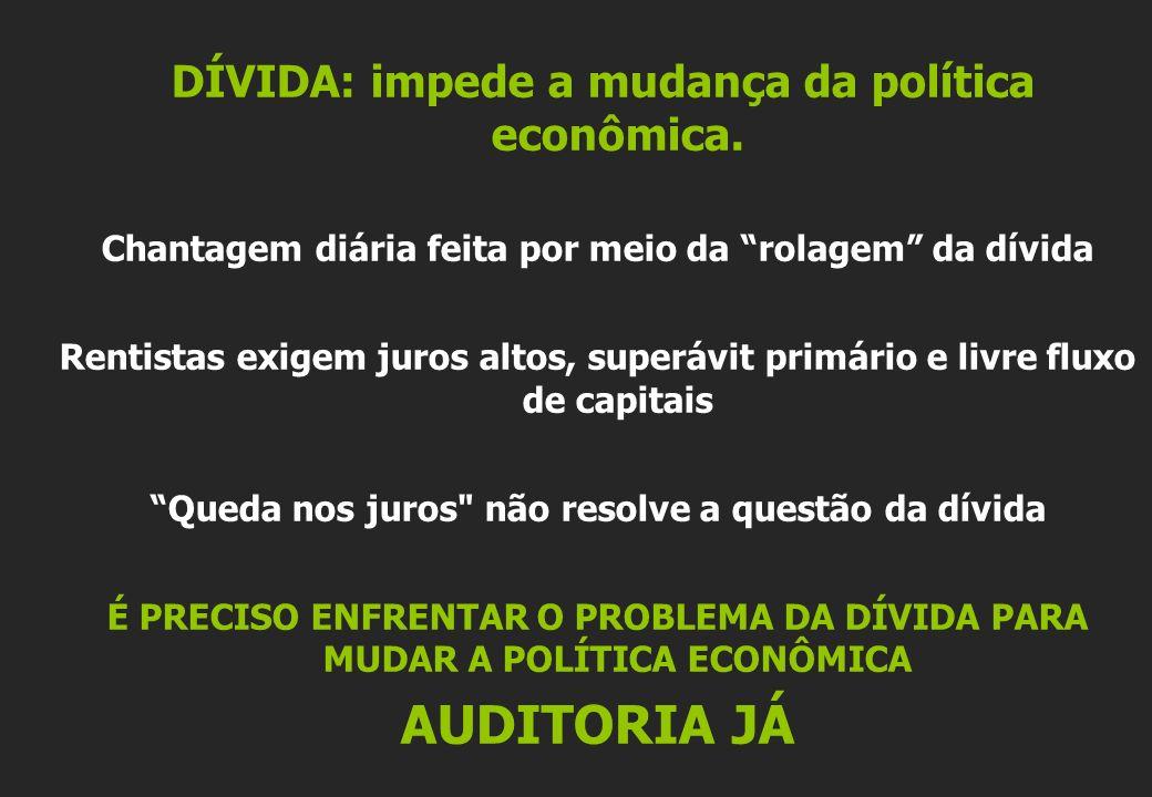 AUDITORIA JÁ DÍVIDA: impede a mudança da política econômica.