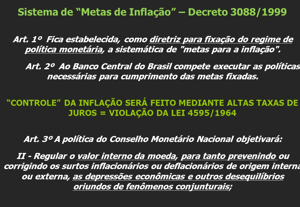 Sistema de Metas de Inflação – Decreto 3088/1999