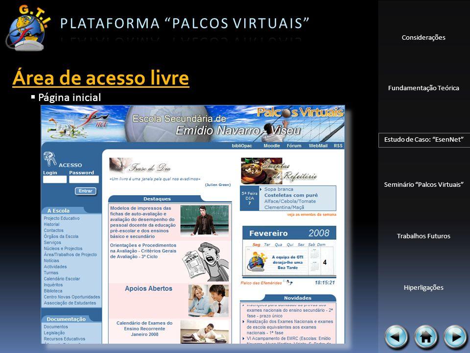 Área de acesso livre Página inicial