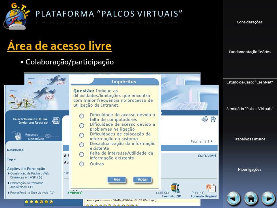 Área de acesso livre Colaboração/participação