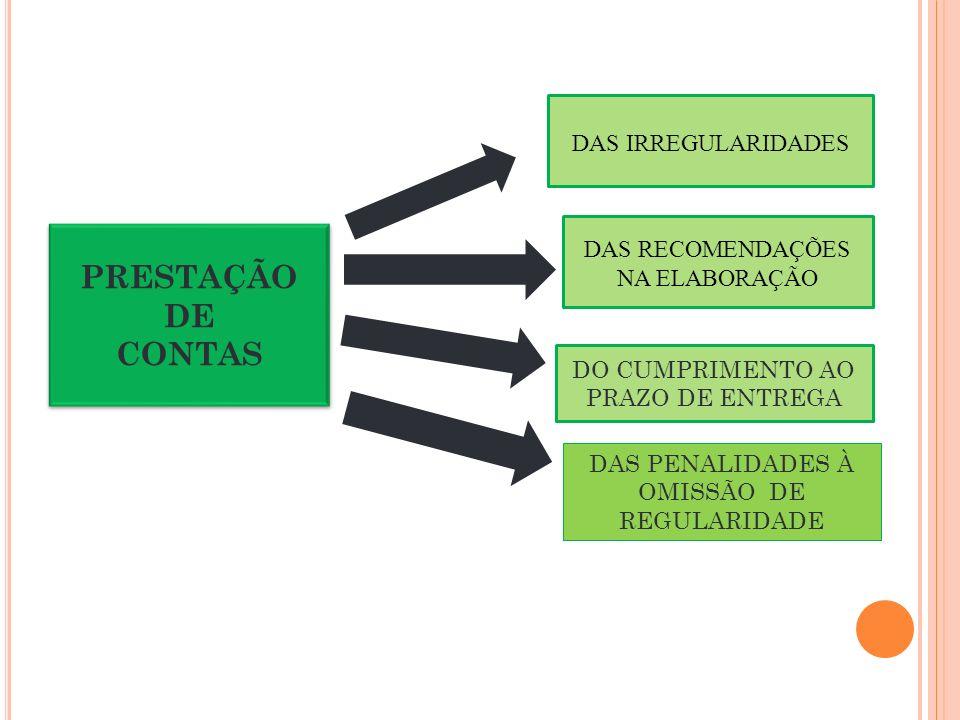 PRESTAÇÃO DE CONTAS DAS IRREGULARIDADES
