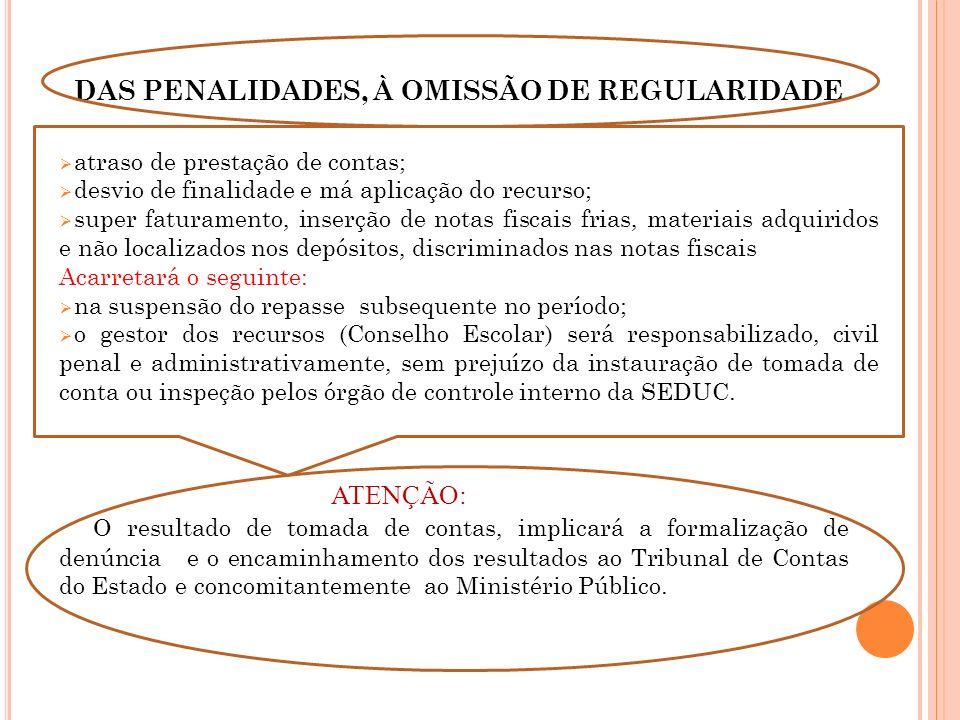 DAS PENALIDADES, À OMISSÃO DE REGULARIDADE