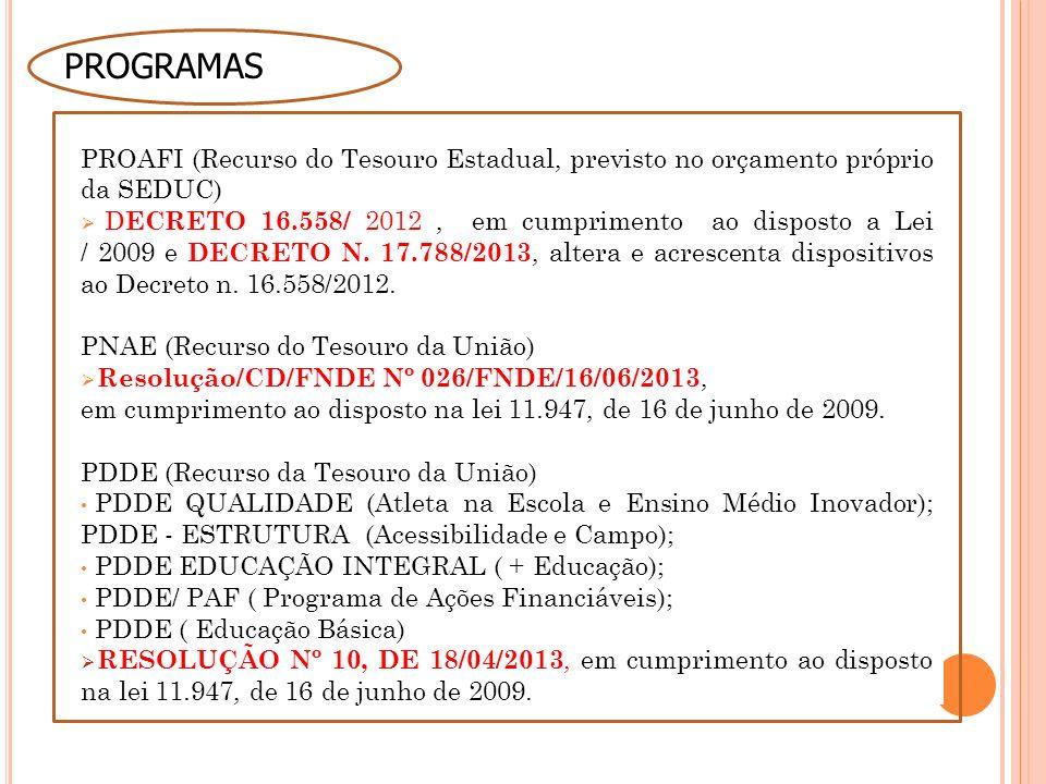 PROGRAMAS PROAFI (Recurso do Tesouro Estadual, previsto no orçamento próprio da SEDUC)