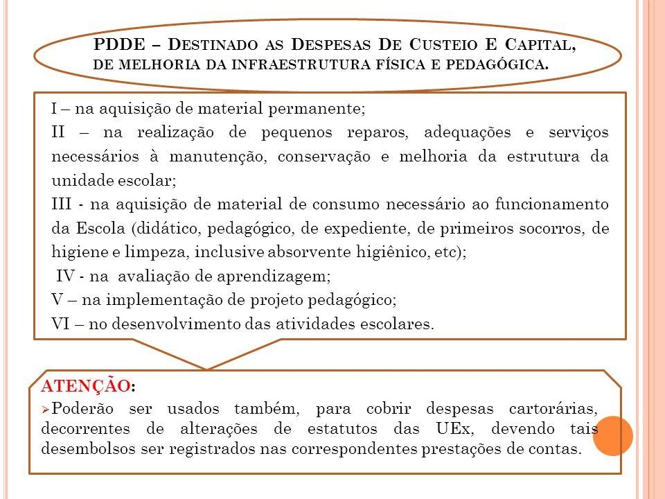 PDDE – Destinado as Despesas De Custeio E Capital, de melhoria da infraestrutura física e pedagógica.