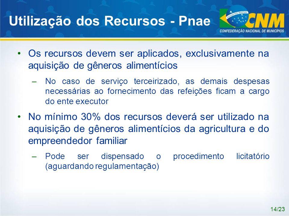 Utilização dos Recursos - Pnae