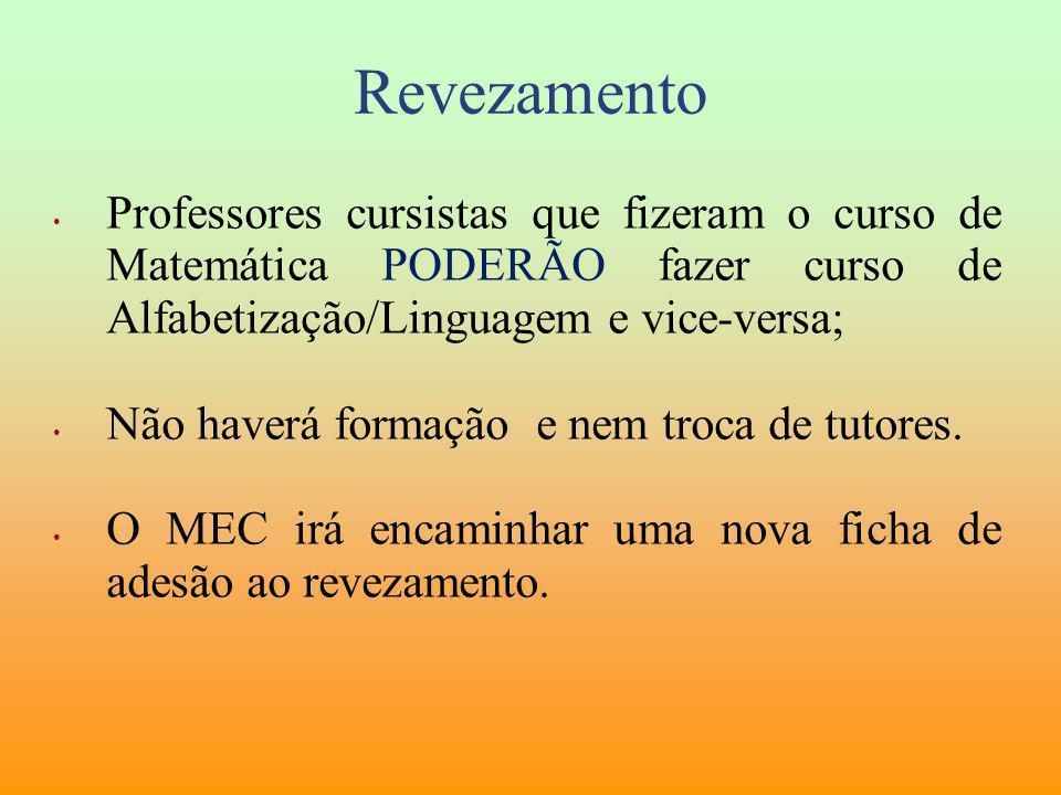 Revezamento Professores cursistas que fizeram o curso de Matemática PODERÃO fazer curso de Alfabetização/Linguagem e vice-versa;