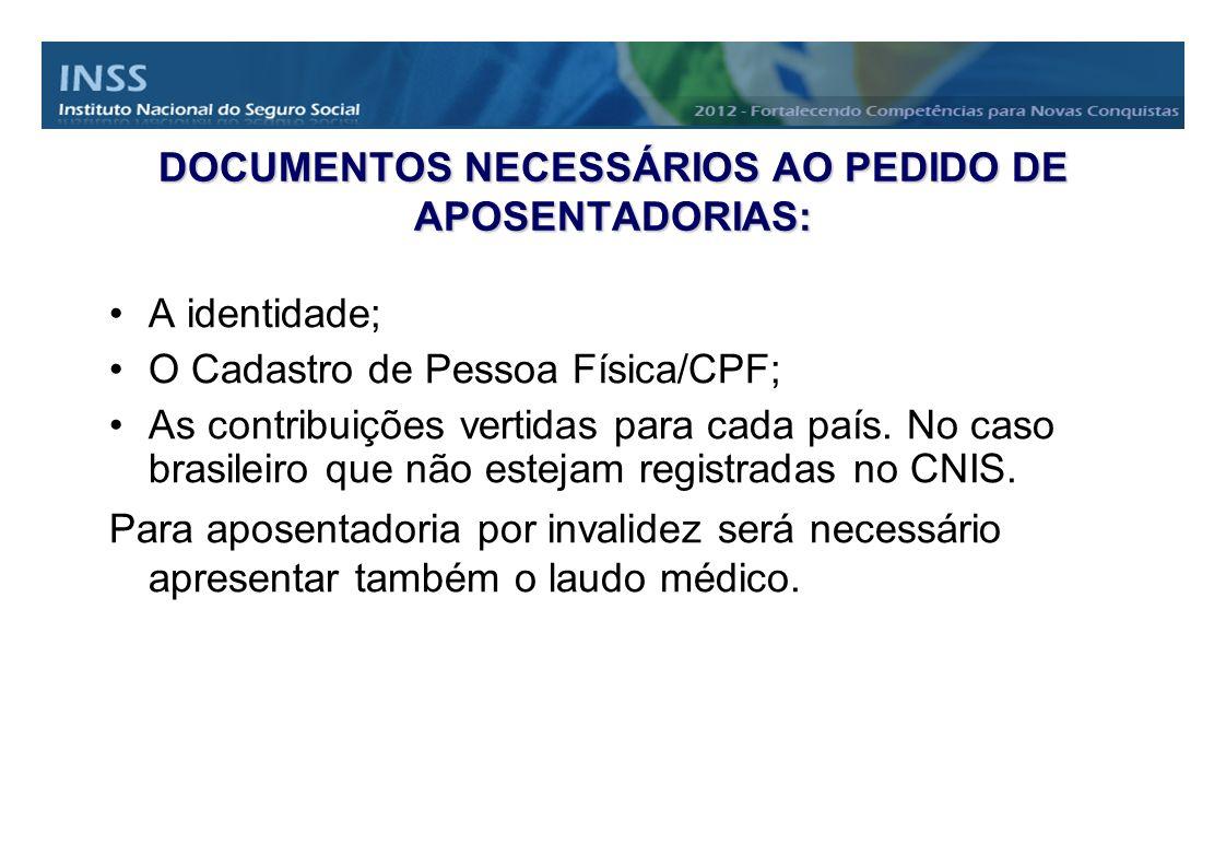 DOCUMENTOS NECESSÁRIOS AO PEDIDO DE APOSENTADORIAS: