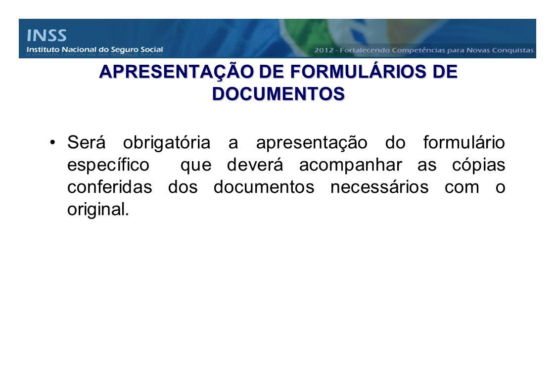 APRESENTAÇÃO DE FORMULÁRIOS DE DOCUMENTOS