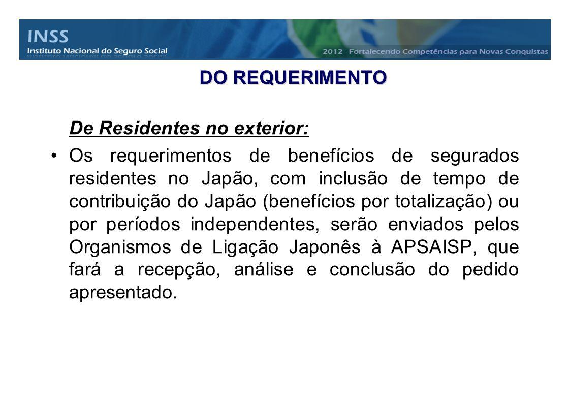 DO REQUERIMENTO De Residentes no exterior: