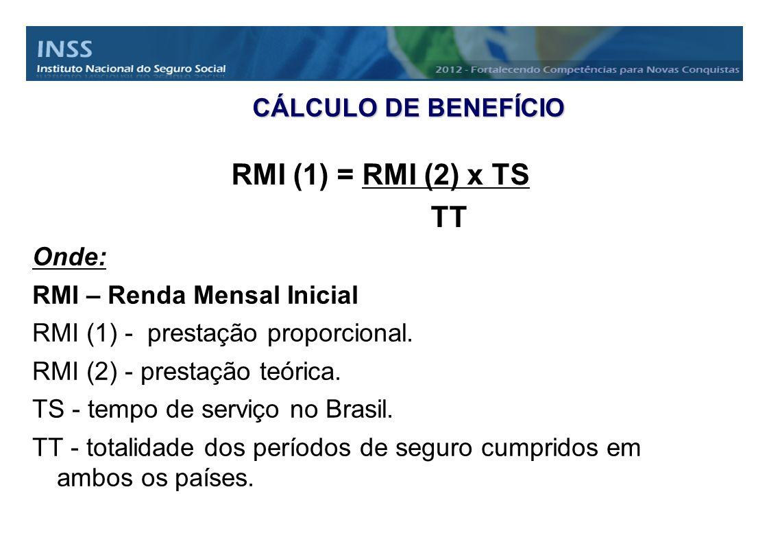 RMI (1) = RMI (2) x TS TT CÁLCULO DE BENEFÍCIO Onde: