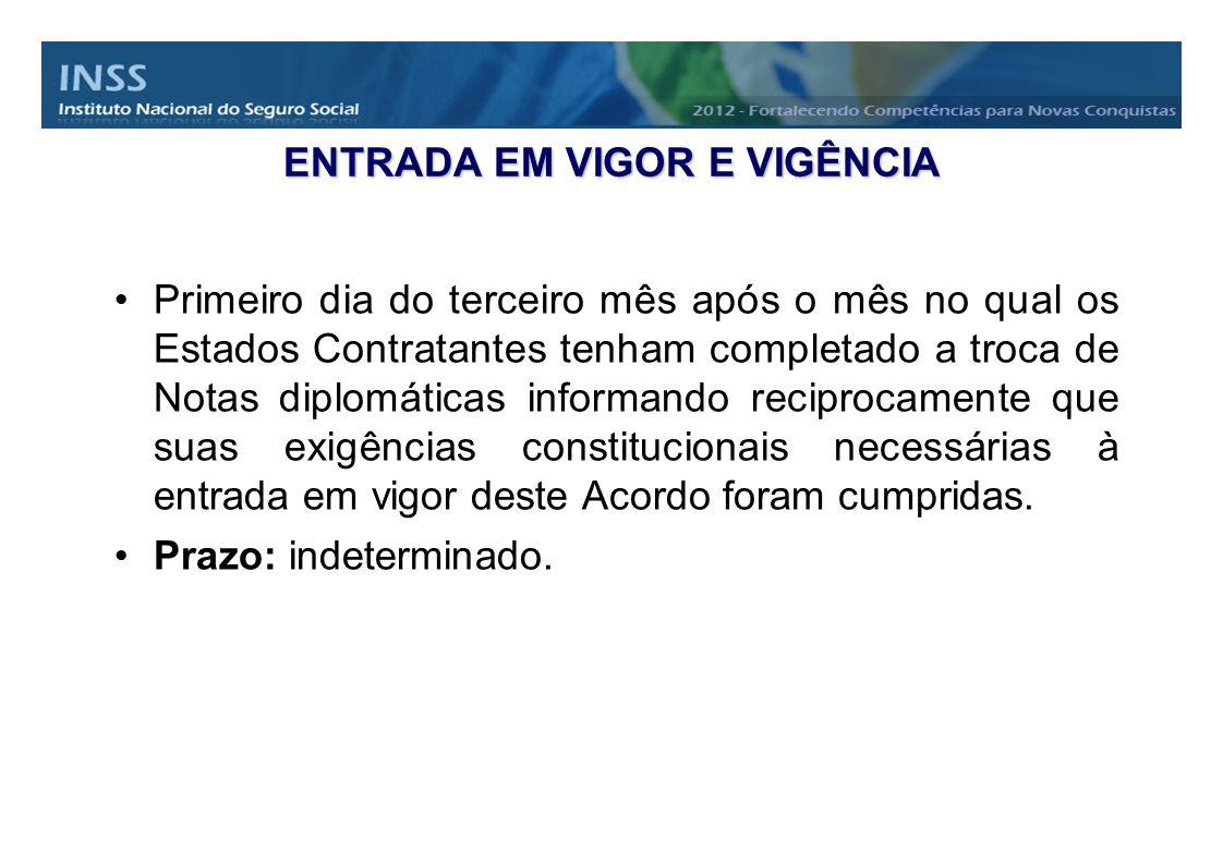 ENTRADA EM VIGOR E VIGÊNCIA