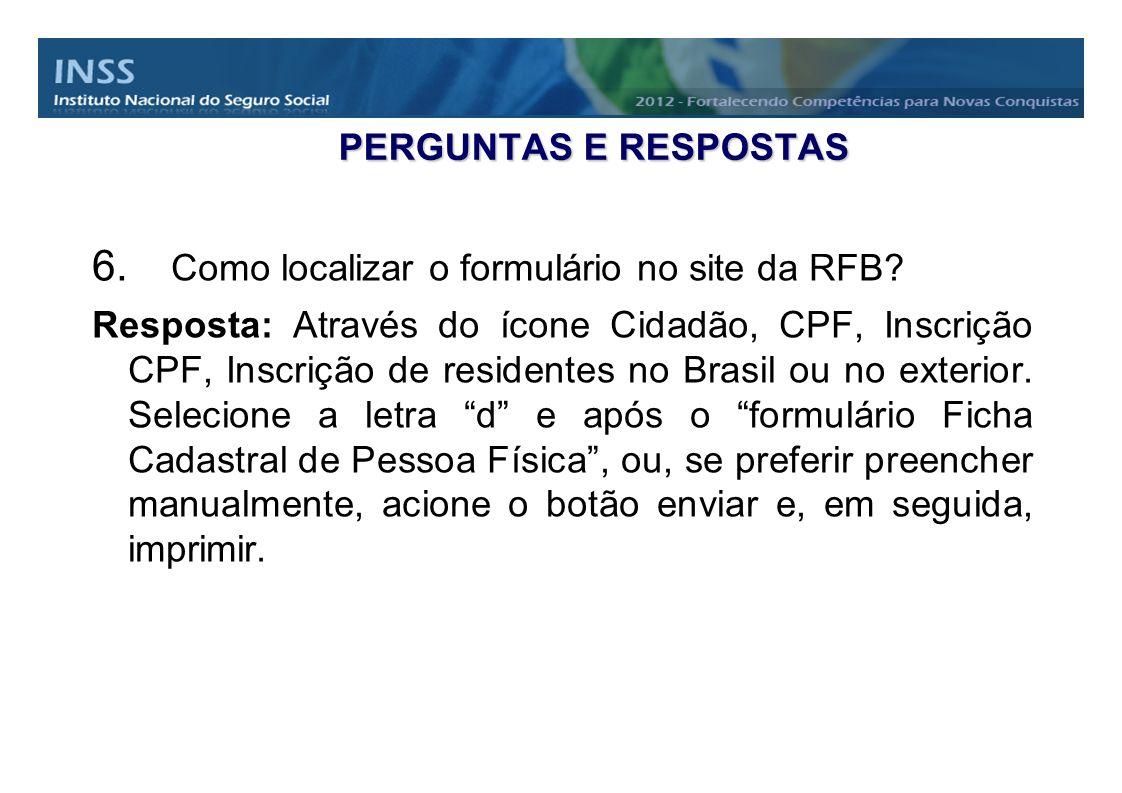 Como localizar o formulário no site da RFB