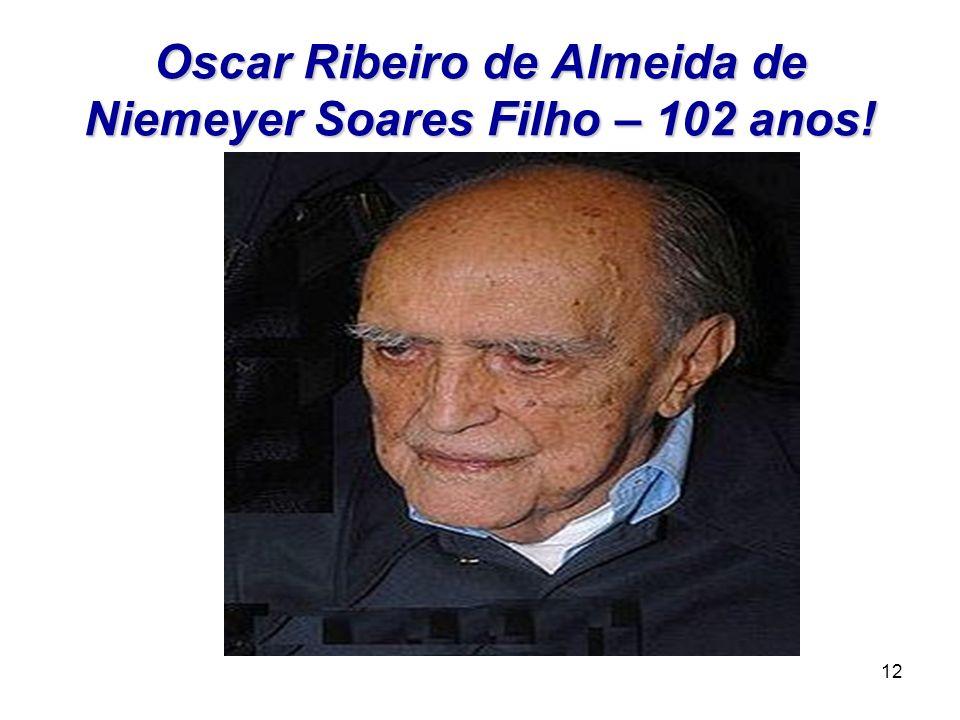 Oscar Ribeiro de Almeida de Niemeyer Soares Filho – 102 anos!