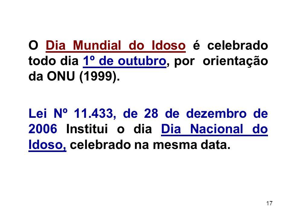 O Dia Mundial do Idoso é celebrado todo dia 1º de outubro, por orientação da ONU (1999).