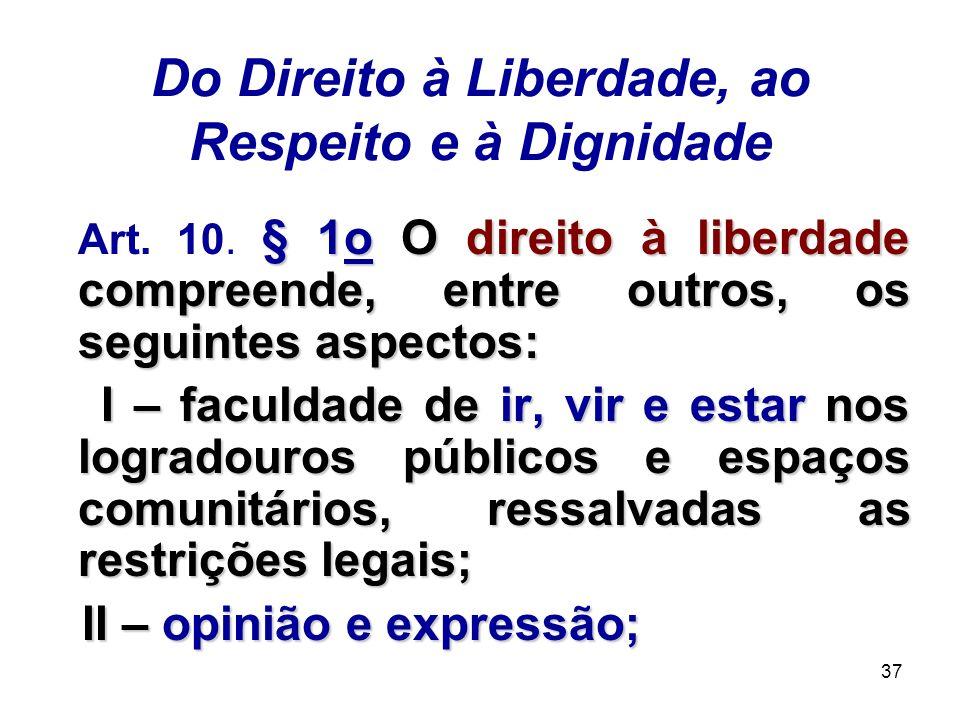 Do Direito à Liberdade, ao Respeito e à Dignidade
