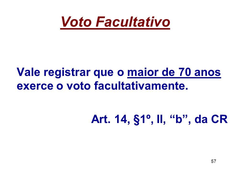Voto Facultativo Art. 14, §1º, II, b , da CR