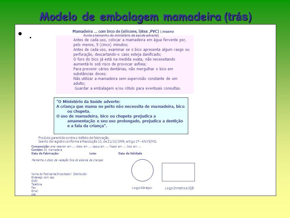 Modelo de embalagem mamadeira (trás)