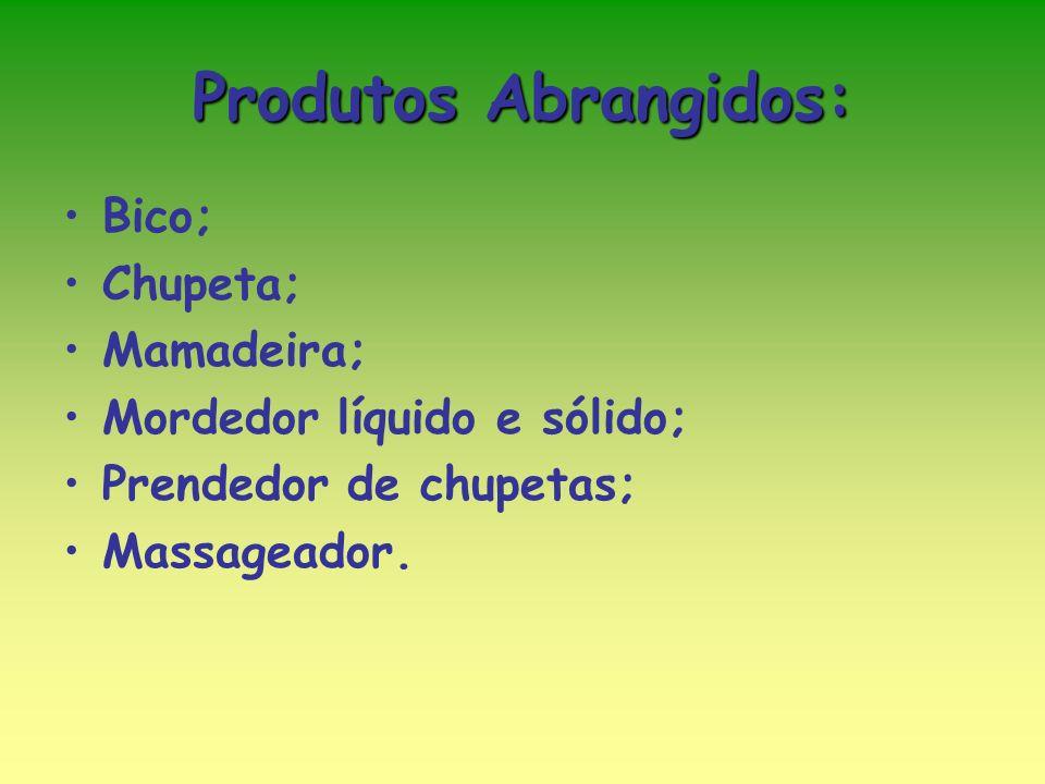 Produtos Abrangidos: Bico; Chupeta; Mamadeira;