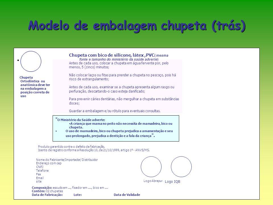 Modelo de embalagem chupeta (trás)