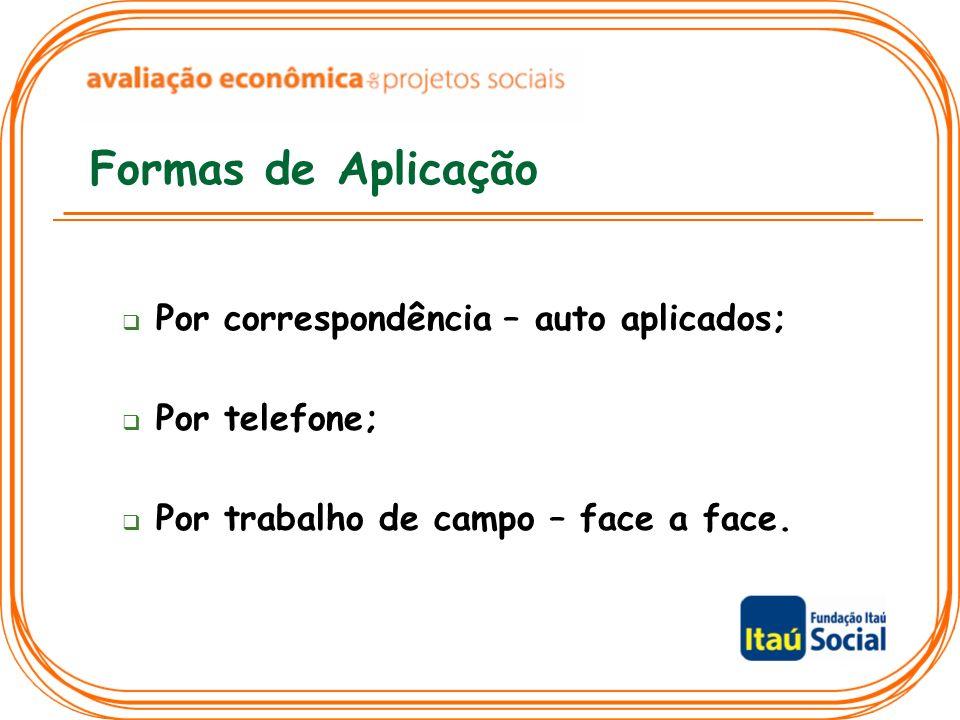 Formas de Aplicação Por correspondência – auto aplicados;