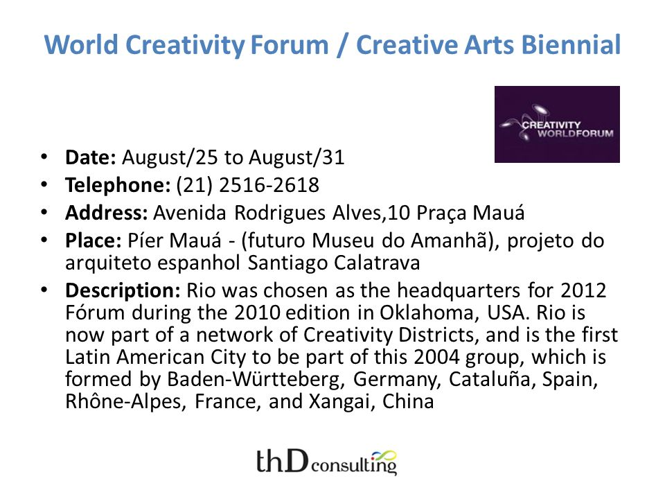 World Creativity Forum / Creative Arts Biennial