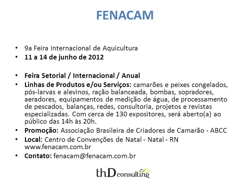 FENACAM 9a Feira Internacional de Aquicultura 11 a 14 de junho de 2012