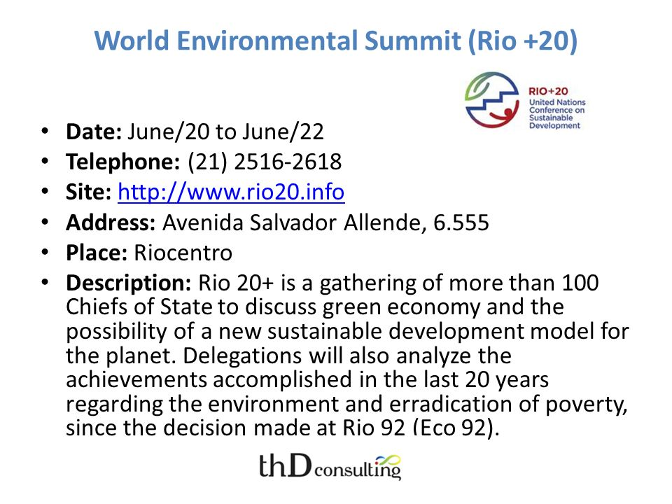 World Environmental Summit (Rio +20)