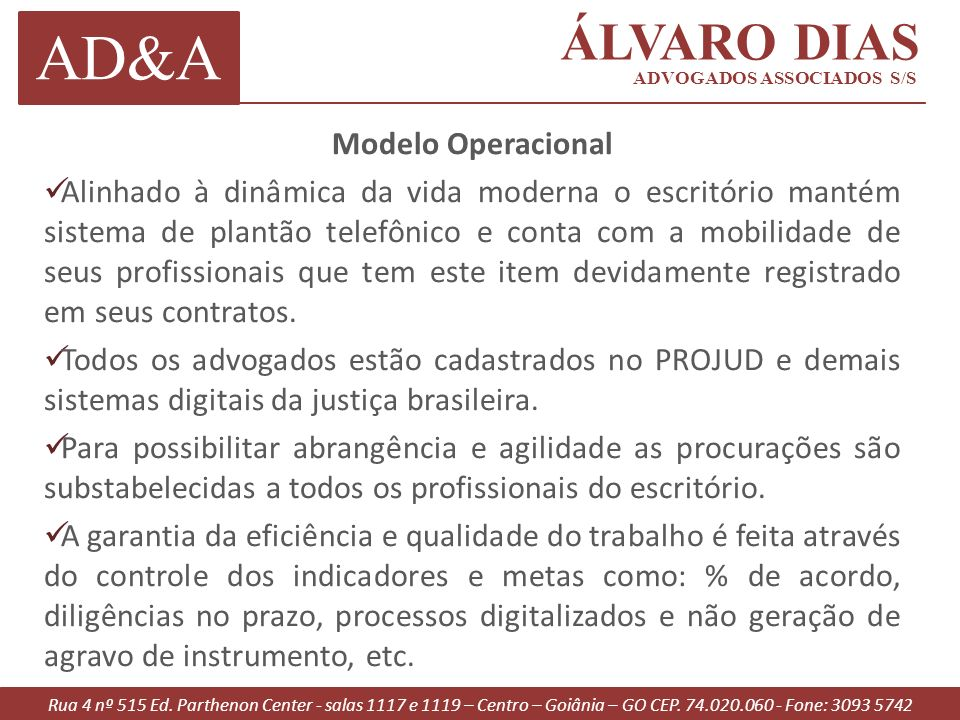AD&A ÁLVARO DIAS Modelo Operacional