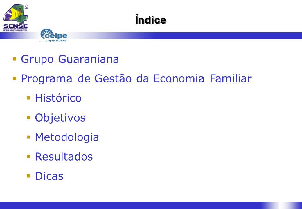 Índice Grupo Guaraniana. Programa de Gestão da Economia Familiar. Histórico. Objetivos. Metodologia.