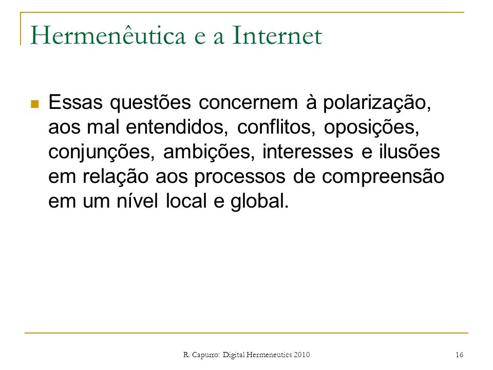 Hermenêutica e a Internet