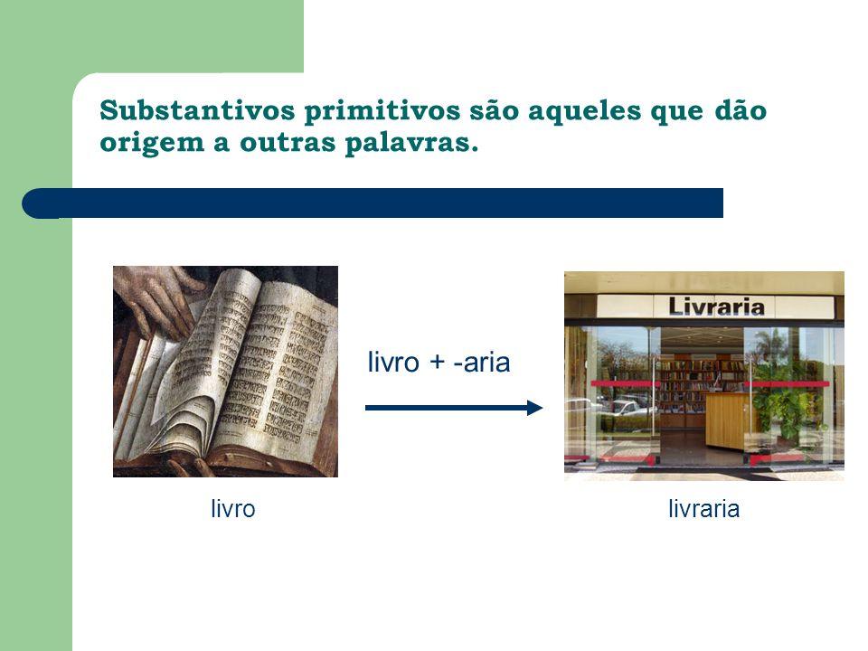 Substantivos primitivos são aqueles que dão origem a outras palavras.