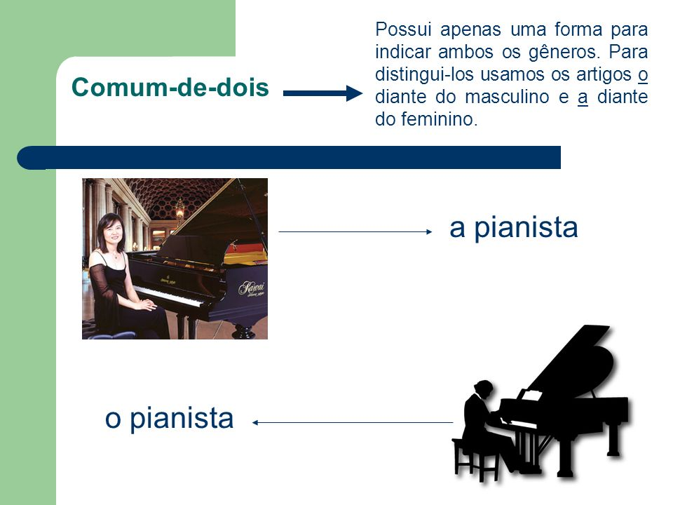 a pianista o pianista Comum-de-dois