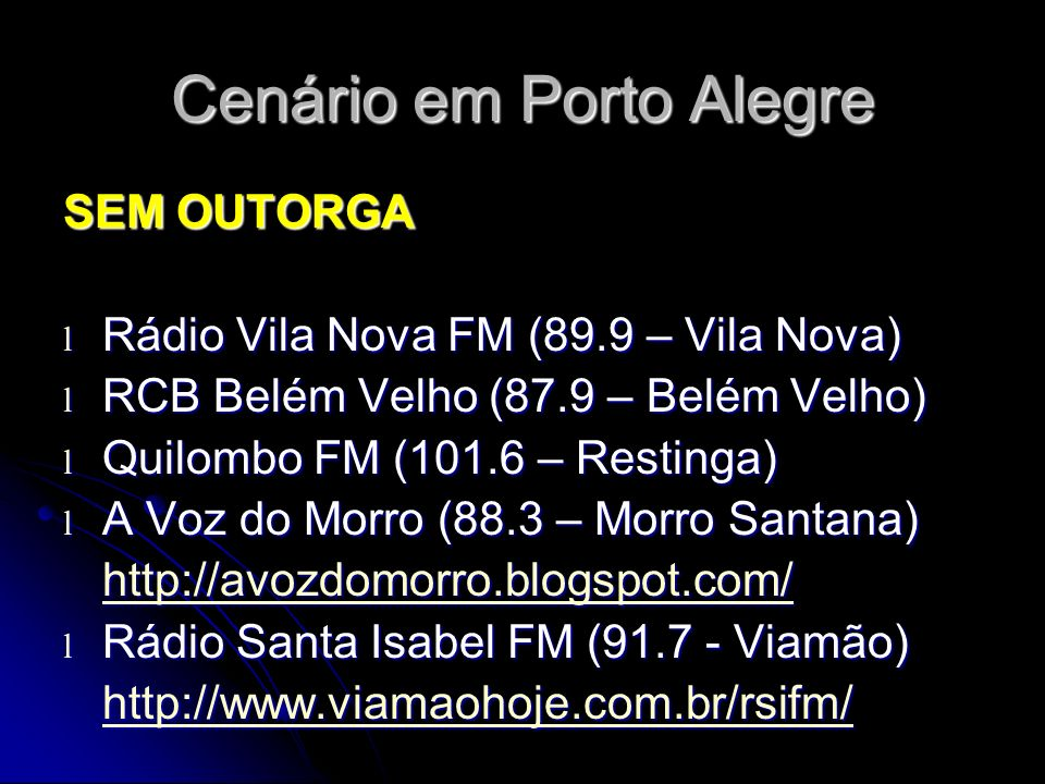 Cenário em Porto Alegre