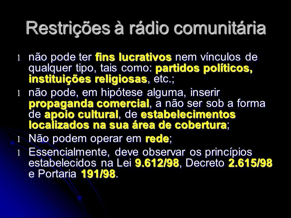 Restrições à rádio comunitária