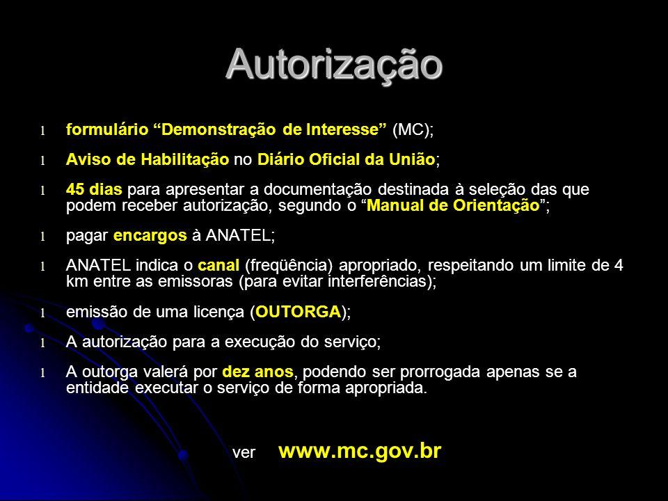 Autorização formulário Demonstração de Interesse (MC);