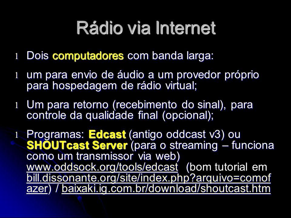 Rádio via Internet Dois computadores com banda larga: