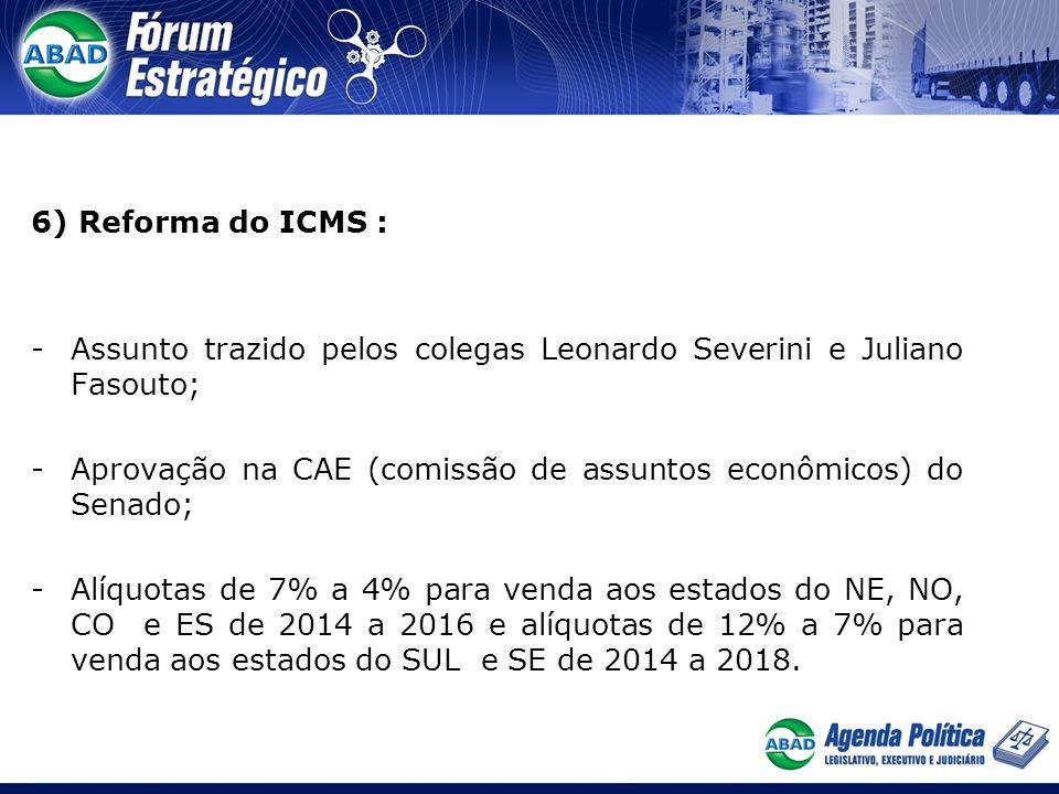 6) Reforma do ICMS : Assunto trazido pelos colegas Leonardo Severini e Juliano Fasouto;