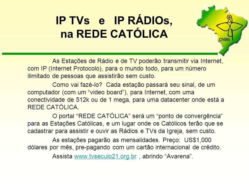 IP TVs e IP RÁDIOs, na REDE CATÓLICA