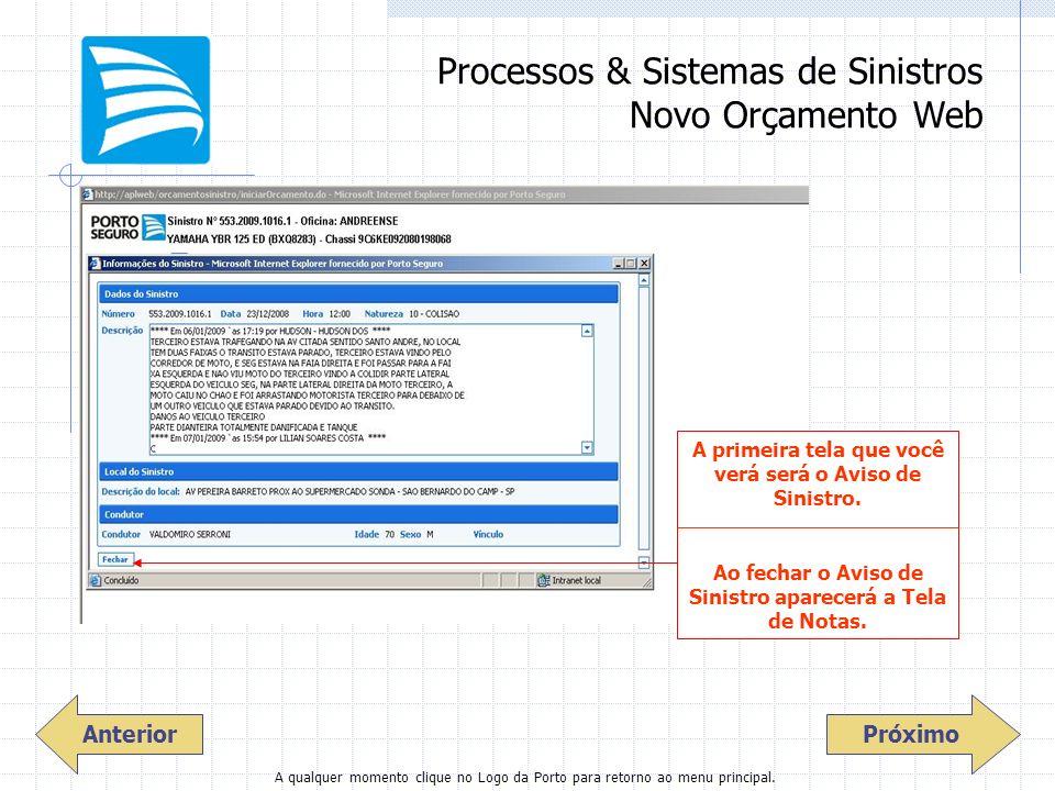 Processos & Sistemas de Sinistros Novo Orçamento Web