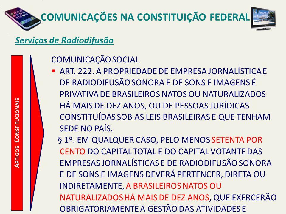 COMUNICAÇÕES NA CONSTITUIÇÃO FEDERAL Artigos Constitucionais