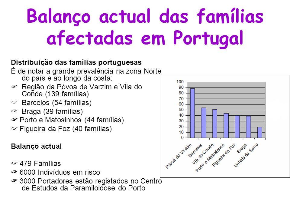 Balanço actual das famílias afectadas em Portugal