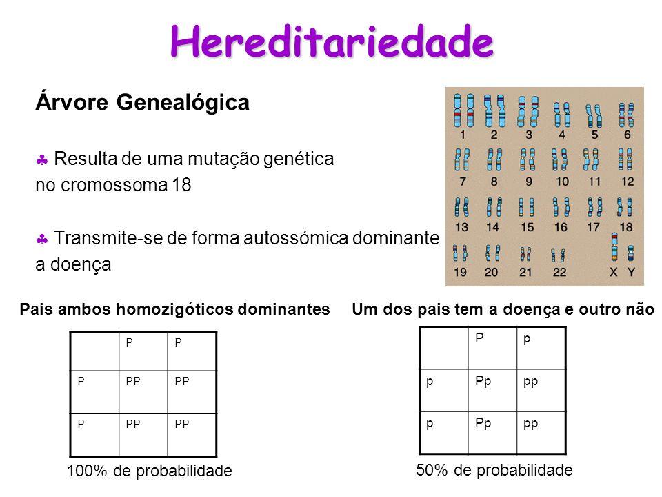 Hereditariedade Árvore Genealógica  Resulta de uma mutação genética
